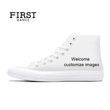 a3603c9c2d63 FIRST DANCE 2018 Spring High top Canvas Shoes Mens Casual Custom 3D Printed  Shoes Youth Solid