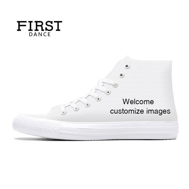 FIRST DANCE Shoes for Unisex  High Top Canvas Shoes Casual Custom Printed Shoes Youth Solid Color Dropshipping White Shoes