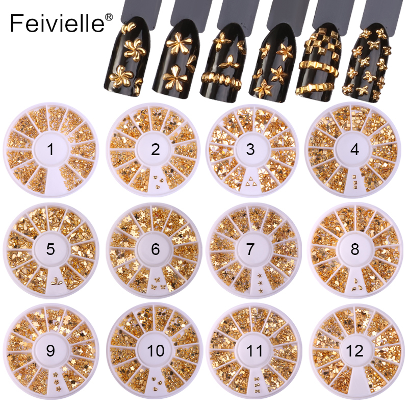 Feivielle 12 Styles Gold Color Rhinestones Flat Bottom Metal Studs Laser Rivet Beads Decor Manicure Nail Art Decoration in Wheel