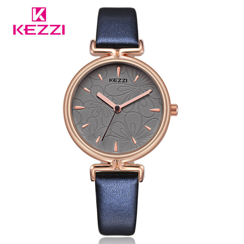 Kezzi Retro Lady Flower Dial Leather Watch Woman Waterproof Quartz Wristwatches Dress Watches Fashion Montre Femme Gift