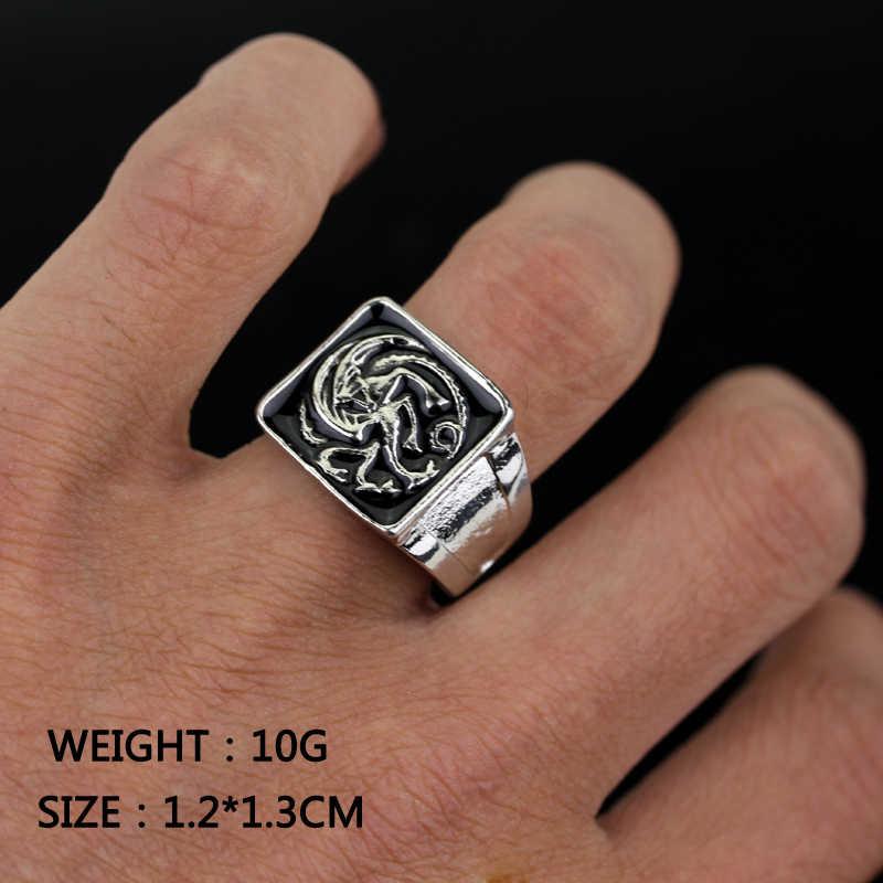 เกมของ Thrones ice wolf House Stark of Winterfell แหวนผู้ชายสีดำเคลือบแหวนผู้ชายเครื่องประดับคุณภาพสูงขนาด 7 -12 Freeshipping