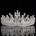 Grande De Plata De Época Nupcial Tiaras Coronas Diadema Crystal Rhinestone Pelo de La Novia Accesorios de La Boda de La Perla de La Corona Del Desfile 2017