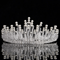 Grande de Prata Do Vintage Nupcial Tiaras Coroas Headband Acessórios Para o Cabelo de Noiva Pérola Casamento de Cristal Rhinestone Pageant Crown 2017