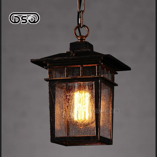 ФОТО Water-Proofed American Vintage Rural Wrought Iron Out Door Pendant Light For Foyer / Courtyard / Aisle / Restaurant Decoration