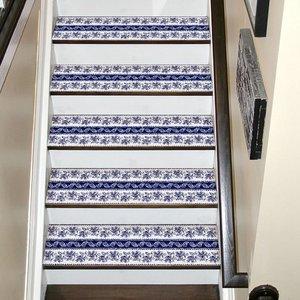 Image 3 - Chaude 2 pièces Style bohême escalier autocollants, PVC bricolage autocollant de sol, Stickers muraux pour la décoration de la maison salle de bain et cuisine