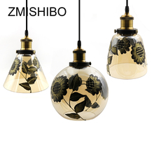 ZMISHIBO Retro Amber Glass Pendant Lamp 110V-220V E27 Sunflower Printed Drop Lights Home Decoration Living Room Hanging