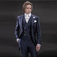 Handsome Navy Blue Mens Dinner Party Prom Suits Groom Tuxedos Groomsmen Wedding Blazer Suits (Jacket+Pants+Vest+Tie) K:1972