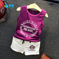 Toddler baby boy girl clothing set Cotton sleeveless vest top tanks + kids shorts two-piece boys sport suits Infant summer 2016