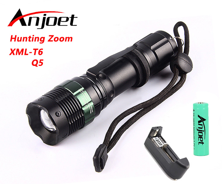 Anjoet XM-L T6 LED Portable Tactische Zaklamp Focus Zoomable Waterdichte zaklamp Bike + Oplaadbare 18650 Batterij + Oplader