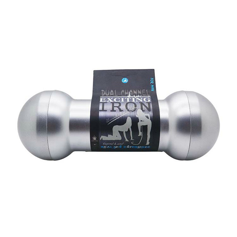 ( Oral & Vagina Sex ) Silver Dual Ends Dumbbell Soft Material Masturbator Cup for Man, Erotic Sex Products Adult Sex Toys