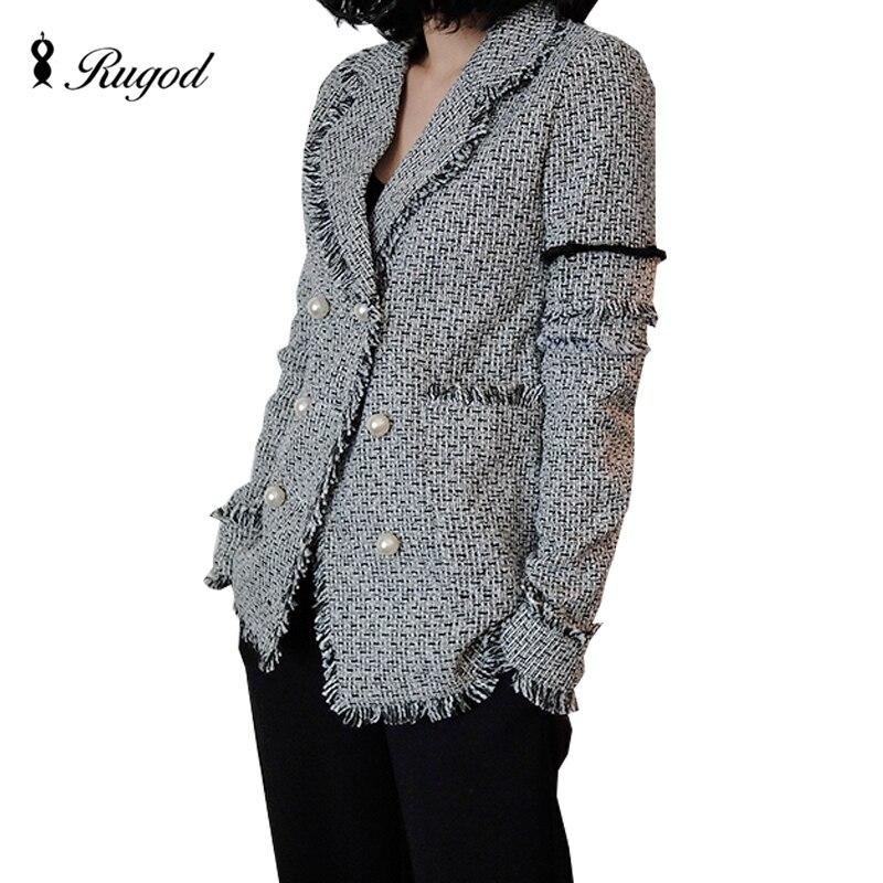 Rugod Vintage Blazers and Jackets Women Elegant Pearls Tassel Tweed Blazer Femenino 2018 Basic Coats Femme Business Jacket Bts