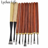 Lychee Life 10pcs Wood Carving Knives DIY Handmade Leather carving appliance Modern Home Factory Sewing Tools Supplies