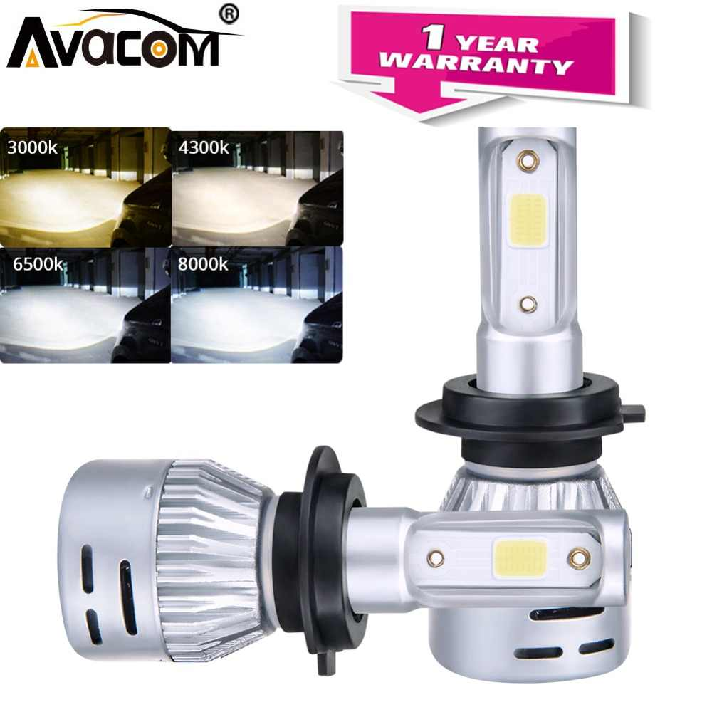 Avacom 2Pcs LED H11 H8 H9 Car Fog Lamps 12V 3000K 4300K 6500K 8000K 24V LED H1 H7 9005 HB3 9006 HB4 8000Lm 72W Auto Fog Light