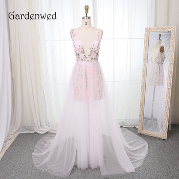 Gardenwed Fairy Flower Evening Dress Long 2019 V Neck Lace Embroidery robe de soiree Evening Gown