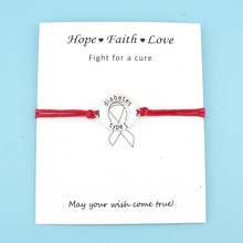 Type 1 Diabetes Medical Alert Ribbon – Silver Charm Bracelet And A Card