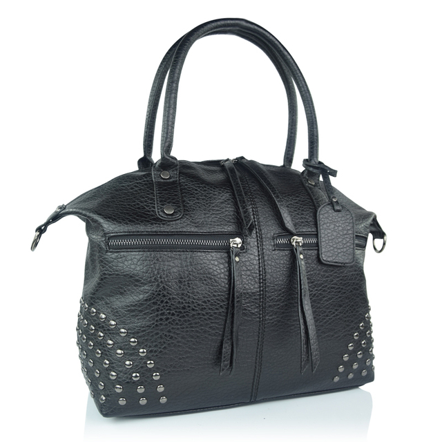Fashion Design Women Rivet Casual Tote Big Handbag Female Wash Leather Cross Body Bag Lady Dual Fuctions Motocycle Messenger Bag