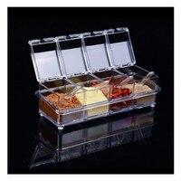 4pcs Transparent Seasoning Salt Jar Storage Box Kitchen Spice Sugar Storage Box