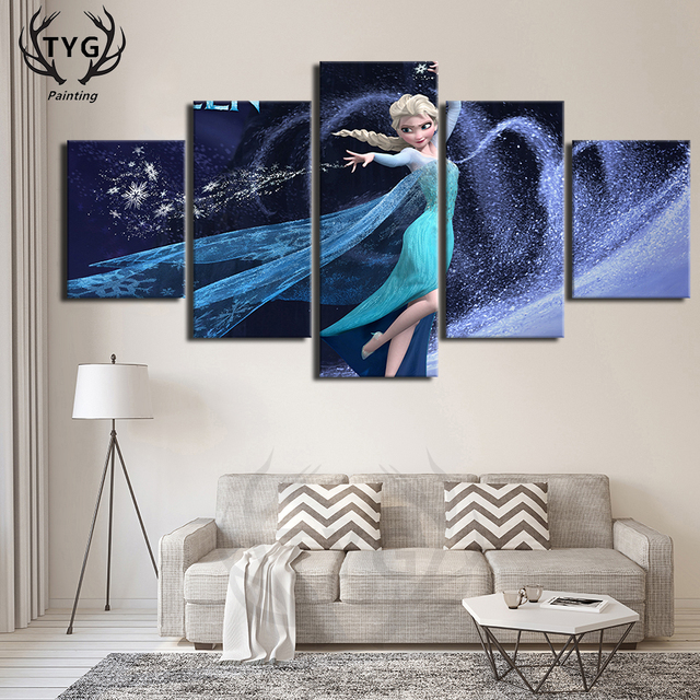 5 Pieces Elsa Frozen Movie Poster Decorative Art On The Wall  Canvas Painting Bedroom HD Print Wall Decorate Framed Pictures TYG