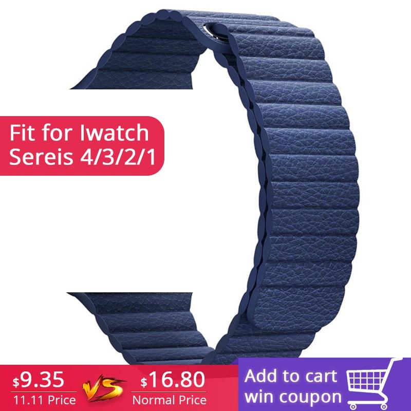FOHUAS correa de cuero genuino magnética ajustable para apple watch Correa 42mm 38 Correa correa de cierre lazo negro azul marrón