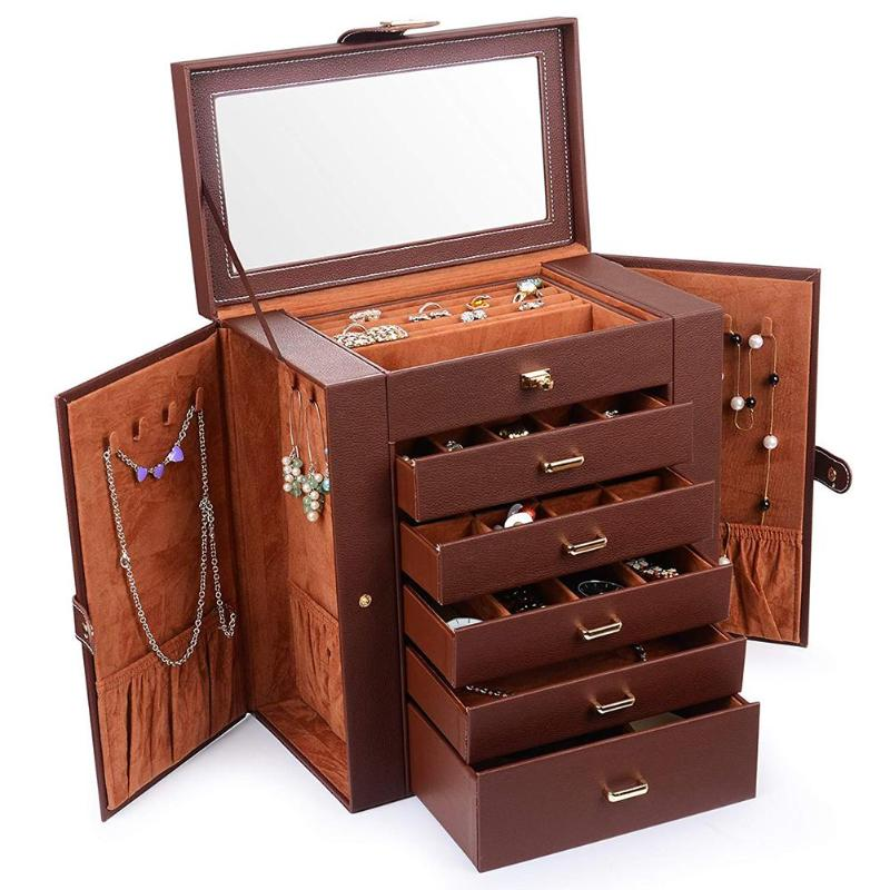 1PC Faux Leather Jewelry Box Mirror Brown Brush Lip Necklace Ring Storage Lockable Case for Makeup Tool Accessories1PC Faux Leather Jewelry Box Mirror Brown Brush Lip Necklace Ring Storage Lockable Case for Makeup Tool Accessories