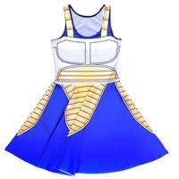 Blue Animation Design Sexy Women Tennis Sports Pleated Dress Vogue Slim Elastic S 4XL Girls Skater