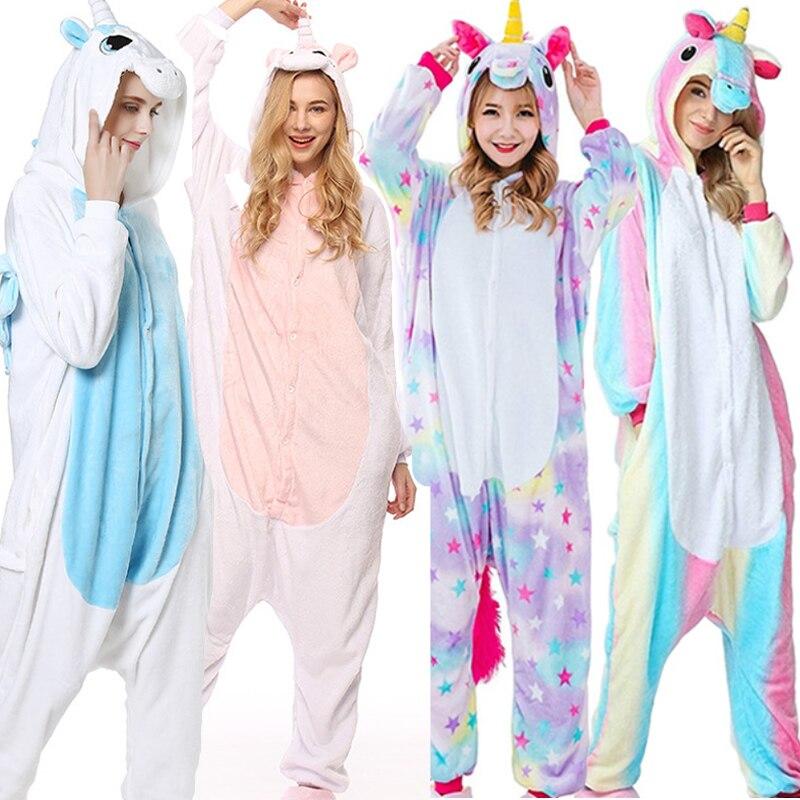 Tier Pyjamas Sets Cartoon Nachtwäsche Cosplay Zipper Frauen Männer Winter Unisex Flanell Panda Rosa Einhorn Pyjama unicornio pijama