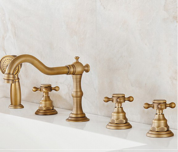 Antique Brass Widespread Bathroom Sink Basin Bathtub Faucet Mixer Tap Set With Hand Shower atf035 - 6
