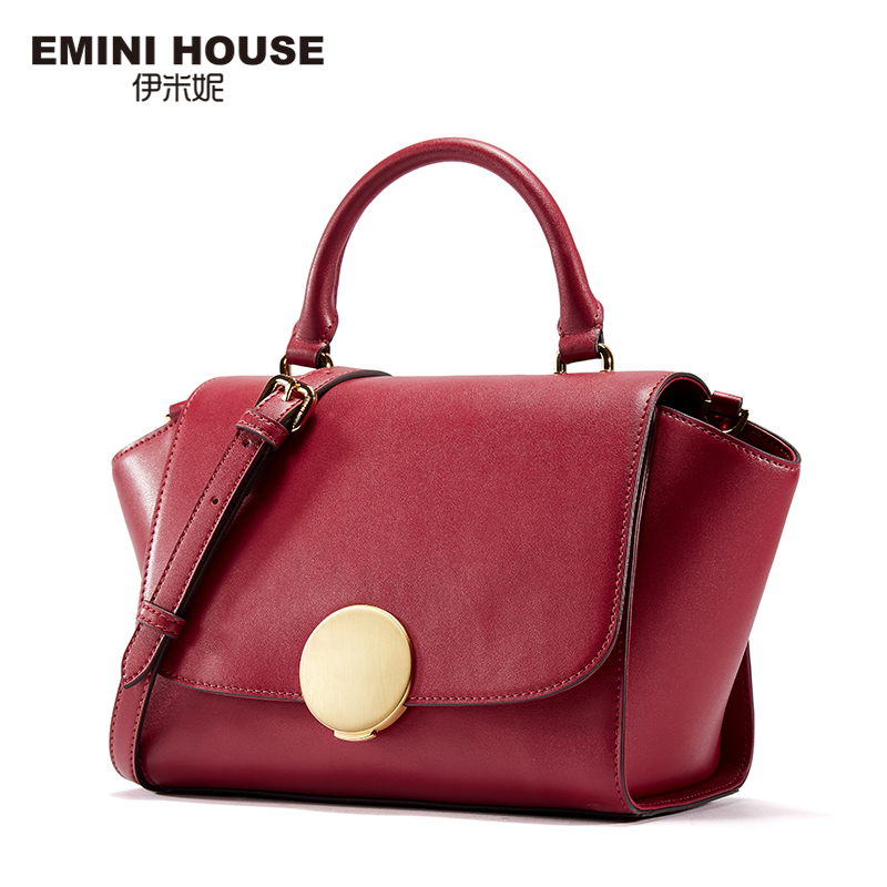 EMINI HOUSE Round Lock Top-Handle Bag Split Leather Shoulder Bag Crossbody Bags For Women Luxury Handbags Women Bags Designer