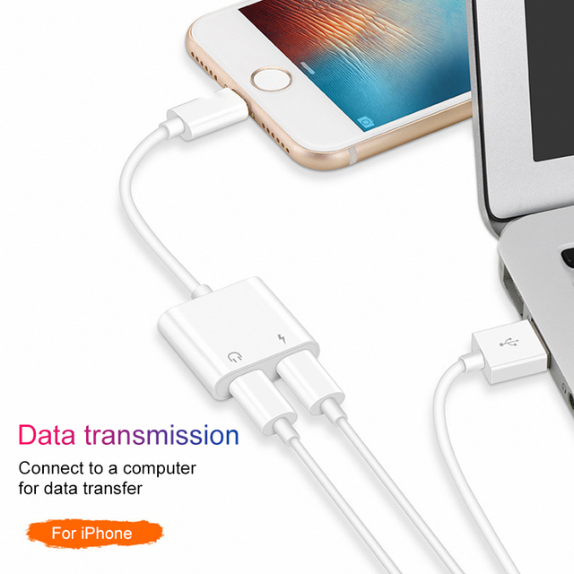 wholesale dealer ca75d f39cc US $1.65 29% OFF Audio Adapter Charger Cable For iPhone X 8 Dual Headphone  Aux cable for Lightning Converter For iPhone 10 Charging Splitter -in ...