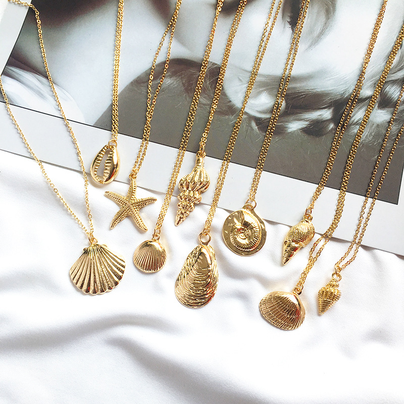 19 New Fashion Gold Color Alloy Cowrie Shell Necklace for Women Conch Chain Pendant Necklace Summer Jewelry Starfish Collar 1