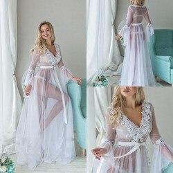 Col en V voir à travers les Robes de nuit sur mesure manches longues dentelle Applique grande taille chemises de nuit Robes femmes vêtements de nuit