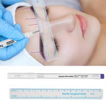 1 adet cerrahi cilt Marker kaş işaretleyici kalem dövme cilt işaretleyici kalem ile ölçüm cetveli Microblading konumlandırma dövme aracı