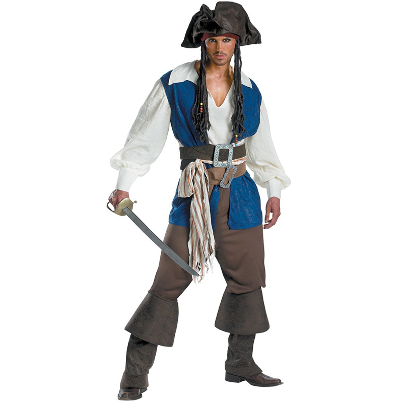 Mens Ahoy Matey High Seas Pirate Cosplay Costume Adult Buccaneer Captain Fancy Dress Jack Sparrow outfit Halloween Carnival Suit