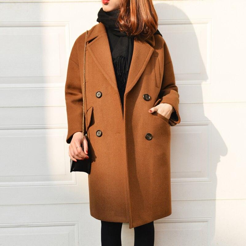 j15dd0743 Col j15dd0743 2016 Gray Brow Camel Casual Marque J15dd0743 Cocon Rabattu Manteau Longue Black Laine D'hiver Forme Femmes Mode De aIqxTqwZX
