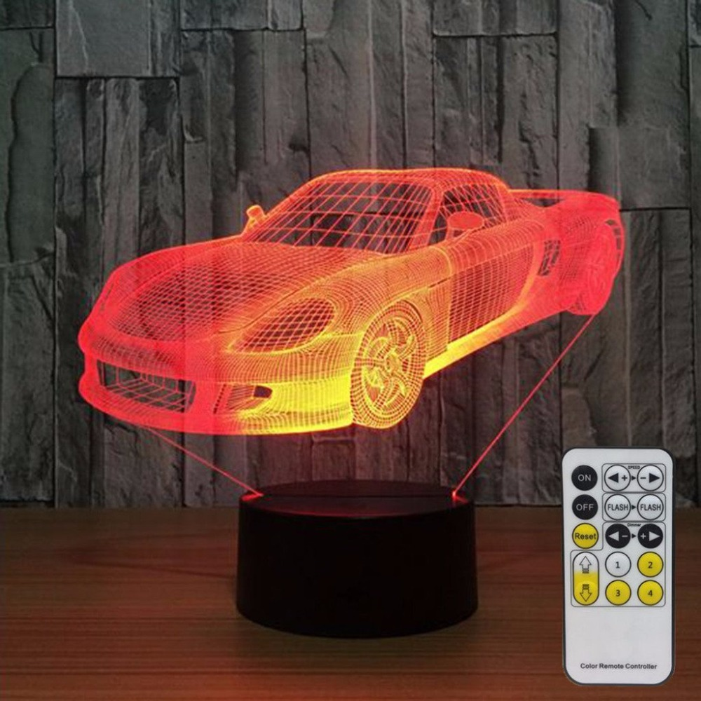 Car Desk Lamp 3D Night Lights for Kids with Remote Controller or Touch Sensor LED Touch 7 Colors Changing Toy Free Drop Shipping