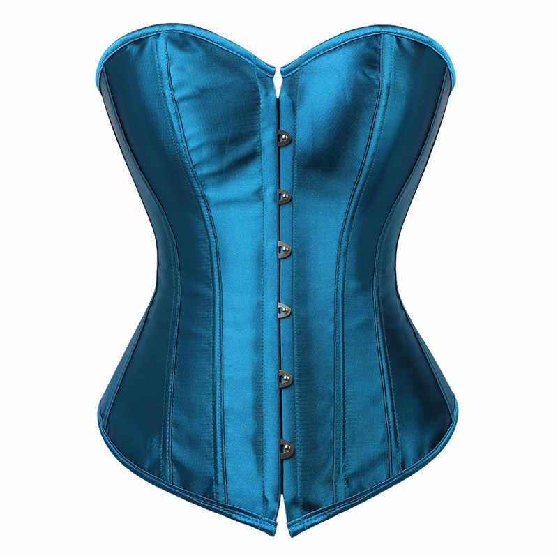 Áo Top Áo Ngực Overbust Satin Gợi Cảm Quần Lót Nịt Corselet Thổ Cẩm Phong Cách Vintage Korsett Cho Nữ Cỡ Hồng Xanh