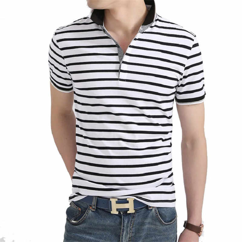 Men Polo Shirt 2019 Summer Men Business Casual Breathable White Striped Short Sleeve Polo Shirt Pure Cotton Work Clothes Polos