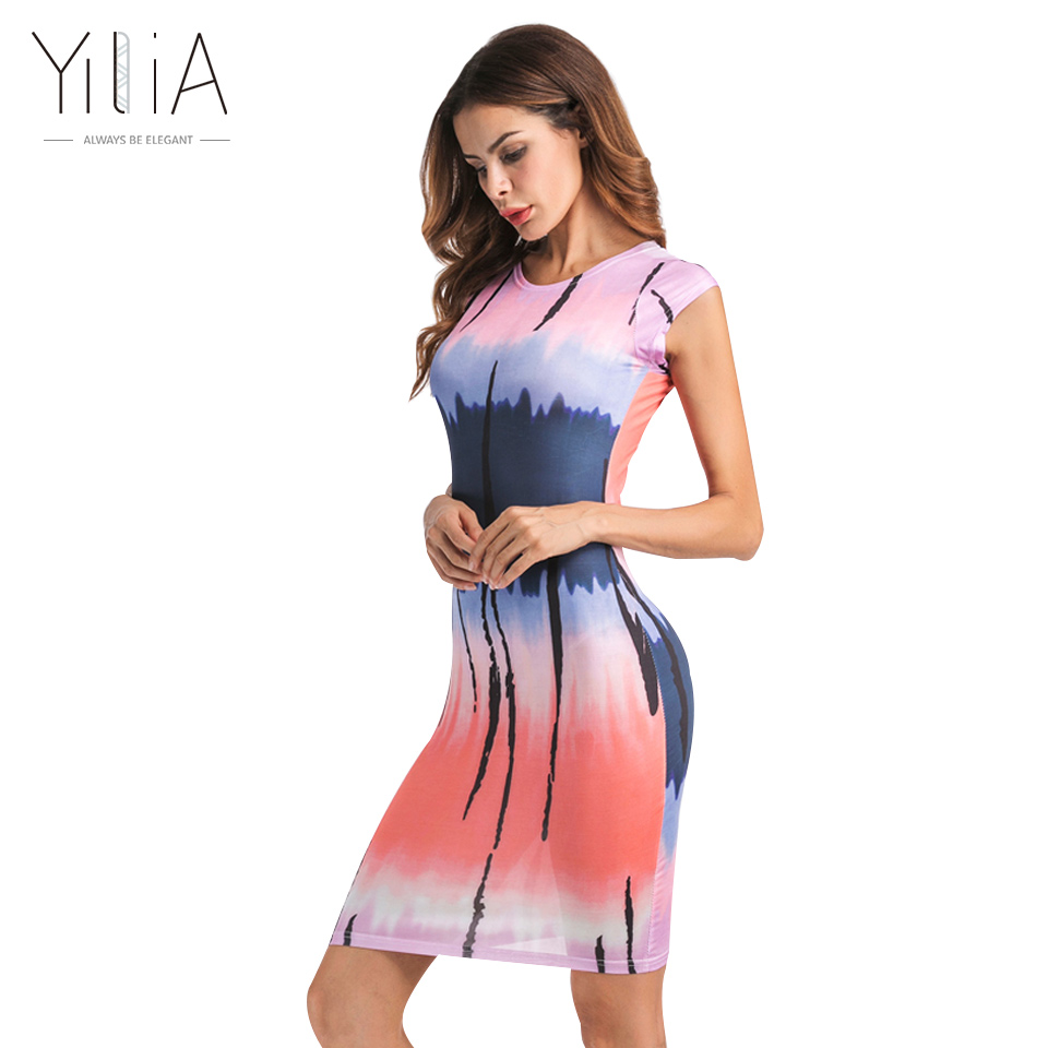 yilia Official Store Yilia Party Club Mini Bodycon Dress Women 2017 Casual Tie-Dyed Gradient Colorful Personality Print Short Sleeve Vestidos
