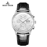 Reef Tiger/RT Chronograph Men Watch Top Luxury Multi Function Watch Ultra Thin Automatic Watches Leather Band RGA1699