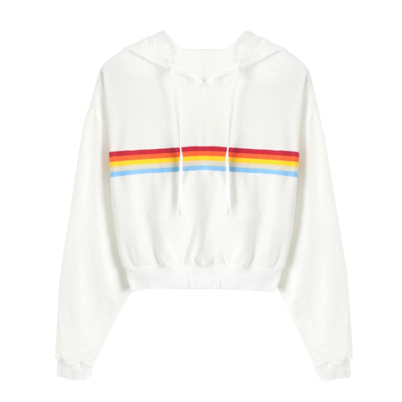 b938125be7d Rainbow Striped Hoodie Women Autumn Winter Tops Plus Size Pullover Long  Sleeve Sweatshirt Crop Top Cropped Hoodie Femme-in Hoodies   Sweatshirts  from ...