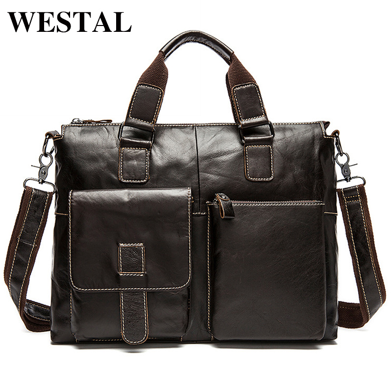 WESTAL Men Bag Genuine Leather Laptop Briefcases Handbags Tote Men