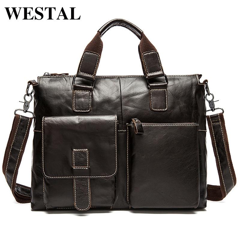 WESTAL Men Bag Genuine Leather Laptop Briefcases Handbags Tote Men Shoulder