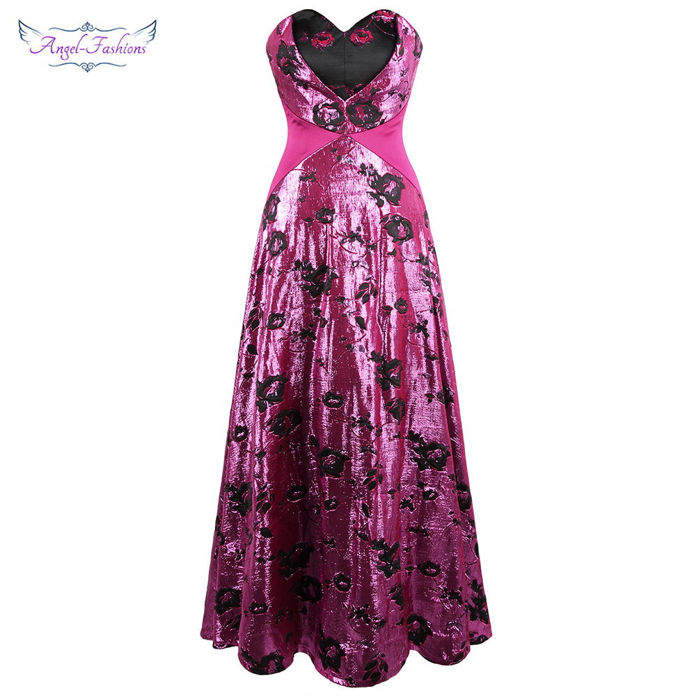 Angel-mode femmes chérie robes de soirée Rose broderie à lacets a-ligne longue fête de bal violet W-190424-S