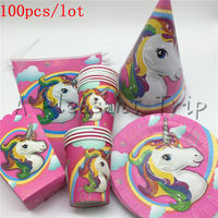100pcs Lot Unicorn Birthday Party Cup Plate Cap Kids Party Decoration Disposable Tableware Kids Boys Moana