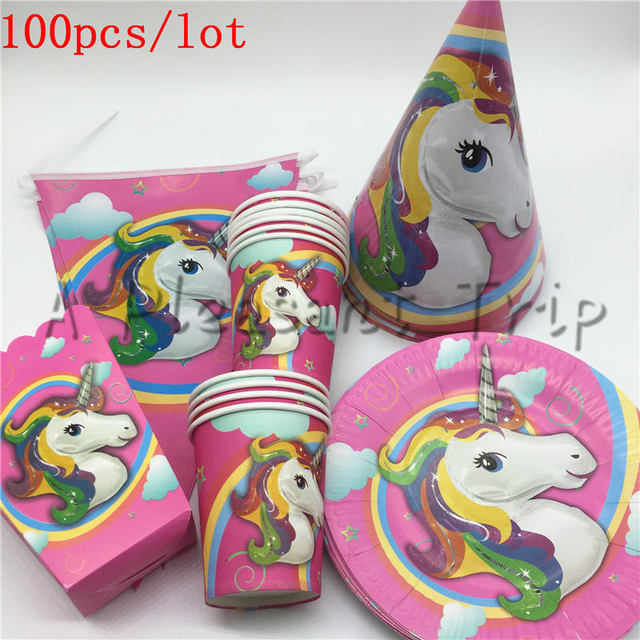 100pcs Lot Unicorn Theme Birthday Party Supplies Kids Party