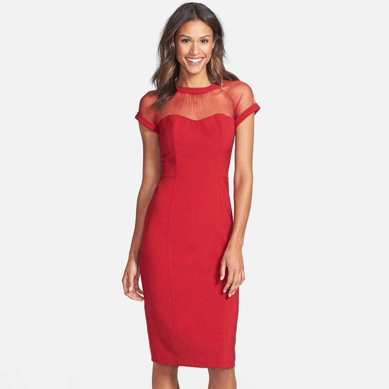 e5aa09d4b815 Verão novas mulheres se vestem europeu simples OL lápis vestidos sexy malha  patchwork magro meados comprimento vestido SD2672 em Vestidos de Roupas das  ...