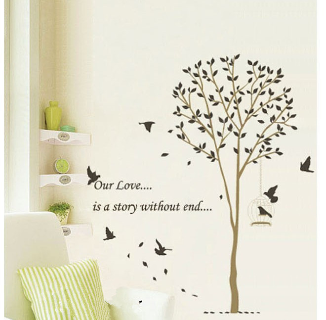 Cartoon Cute Tree Bird Home Decoration Wall Stickers Large