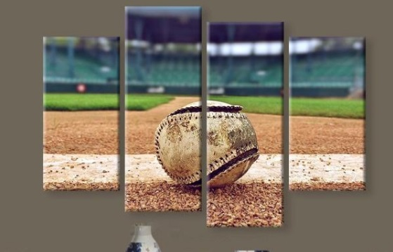 4 Piece Canvas Art Baseball Stadium Background Home Decor Living Room Print Painting