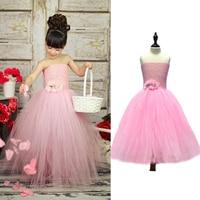 Pink Color Baby Tutu Dress With Flowers Wedding Flower Girl Tutu Dress Children Girl Party Summer