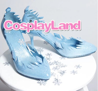 Customize Boots Elsa Princess Shoes Cosplay Boots Movie Blue Snowflake Party Adult Women High Heel Shoes